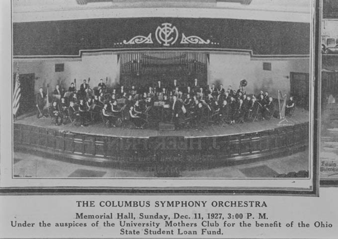 Columbus Symphony Orchestra, December 11th, 1927, found on Columbus Library website